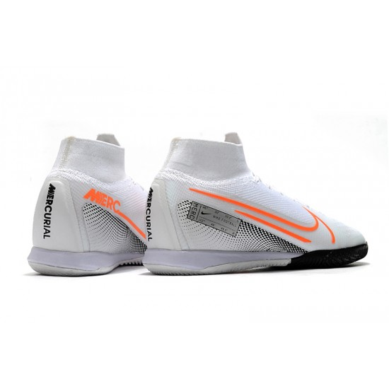 Chaussures de foot Nike Mercurial Superfly 7 Elite MDS IC Flyknit Blanc Argent