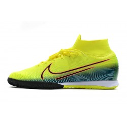 Chaussures de foot Nike Mercurial Superfly 7 Elite MDS IC Flyknit Jaune Bleu