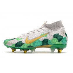 Chaussures de foot Nike Mercurial Superfly 7 Elite SG-PRO AC Flyknit 360 Blanc Vert d'or