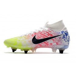 Chaussures de foot Nike Mercurial Superfly 7 Elite SG-PRO AC Flyknit 360 Blanc Rose Vert