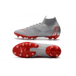 Chaussures de foot Crampons Nike Mercurial Superfly VI 360 Elite AG Gris Rouge