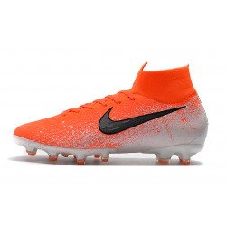 Chaussures de foot Crampons Nike Mercurial Superfly VI 360 Elite AG Orange Blanc