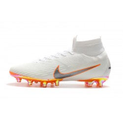 Chaussures de foot Crampons Nike Mercurial Superfly VI 360 Elite AG Blanc Argent Orange