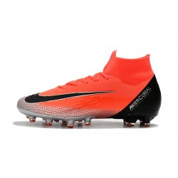 Chaussures de foot Crampons Nike Mercurial Superfly VI Elite CR7 AG Rouge Argent