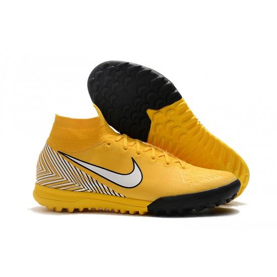 Chaussures de foot Nike Mercurial Superfly VI Flyknit 360 Elite Neymar TF Jaune Blanc