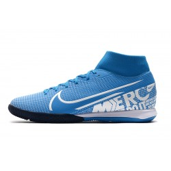 Chaussures de foot Nike Mercurial Superfly VII Academy IC Bleu Blanc