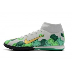 Chaussures de foot Nike Mercurial Superfly VII Academy IC Blanc Vert d'or