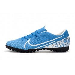 Chaussures de foot Nike Mercurial Vapor 13 Academy TF Bleu Blanc