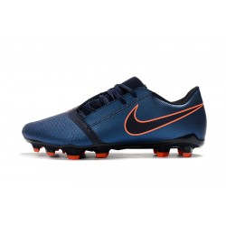 Chaussures de foot Crampons Nike Phantom VNM Elite FG Bleu royal Noir Orange