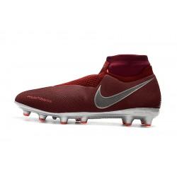 Chaussures de foot Crampons Nike sans lacet Phantom VSN Elite DF AG Rouge Argent