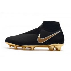 Chaussures de foot Crampons Nike sans lacet Phantom VSN Elite DF FG Noir d'or