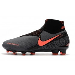 Chaussures de foot Crampons Nike sans lacet Phantom VSN Elite DF FG Noir Orange