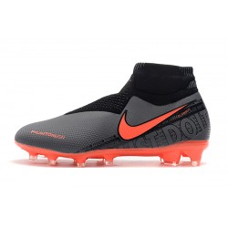 Chaussures de foot Crampons Nike sans lacet Phantom VSN Elite DF FG Dark Gris Orange