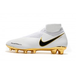 Chaussures de foot Crampons Nike sans lacet Phantom VSN Elite DF FG Blanc d'or