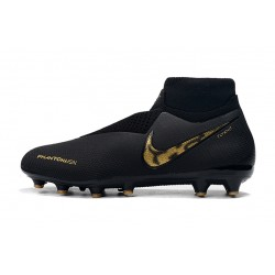 Chaussures de foot Crampons Nike sans lacet Phantom VSN Shadow Elite DF AG Noir d'or