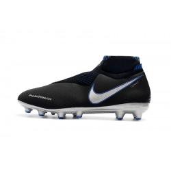 Chaussures de foot Crampons Nike sans lacet Phantom VSN Shadow Elite DF AG Noir Argent