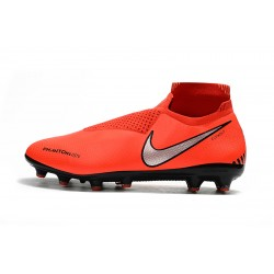 Chaussures de foot Crampons Nike sans lacet Phantom VSN Shadow Elite DF AG Orange Argent
