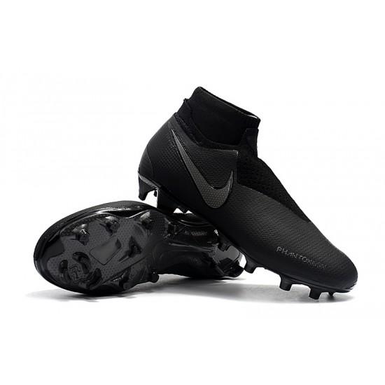 Chaussures de foot Crampons Nike sans lacet Phantom VSN Shadow Elite DF FG Tout Noir