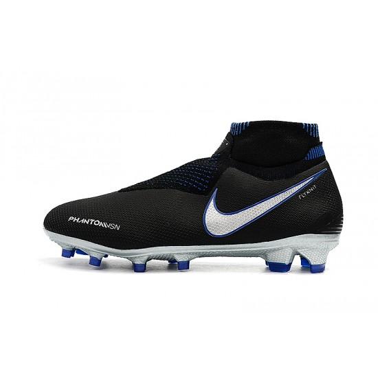 Chaussures de foot Crampons Nike sans lacet Phantom VSN Shadow Elite DF FG Noir Bleu Argent