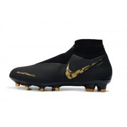 Chaussures de foot Crampons Nike sans lacet Phantom VSN Shadow Elite DF FG Noir d'or