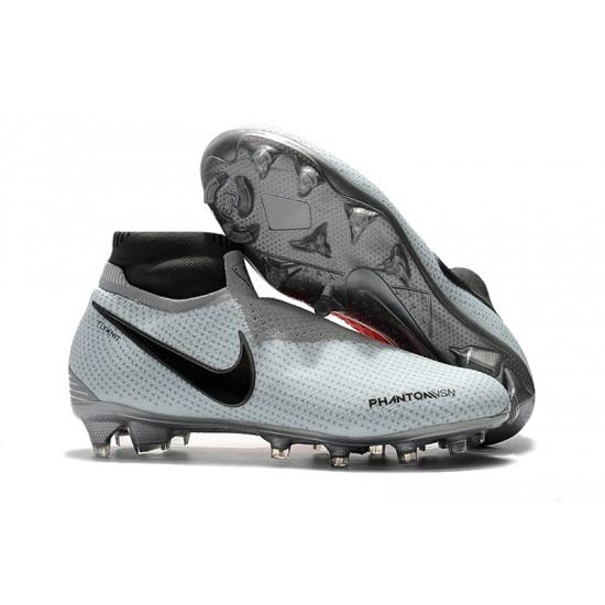 Chaussures de foot Crampons Nike sans lacet Phantom VSN Shadow Elite DF FG Blanc Gris Noir