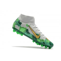 Chaussures de foot Crampons Nike Superfly VII Academy CR7 AG Blanc Vert d'or