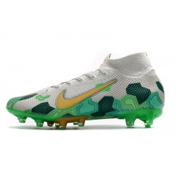 Chaussures de foot Crampons Nike Superfly VII Elite SE AG Football Bootsf Blanc Vert d'or