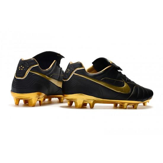 Chaussures de foot Crampons Nike Tiempo Legend 7 R10 Elite FG Noir d'or