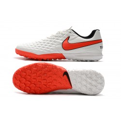 Chaussures de foot Nike Tiempo Legend VIII Club TF Blanc Orange