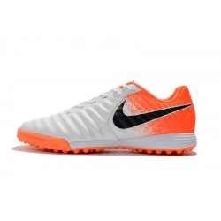 Chaussures de foot Nike Tiempo Ligera IV TF Blanc Orange
