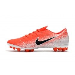 Chaussures de foot Crampons Nike Vapor 12 Academy CR7 AG-R Orange Blanc